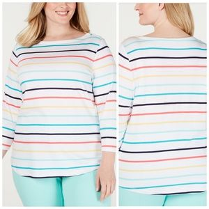 0X 2X 3X Charter Club Striped Cotton Top Plus Size